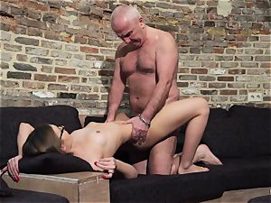 grandfather gets fuck-stick bj'ed and moist sumptuous little woman