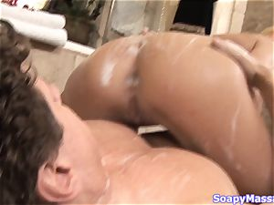 congenital blonde Victoria milky smoothers herself in soap