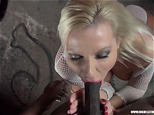 dirty blonde stunner deep throats boob jerks pounds phat black jizz-shotgun