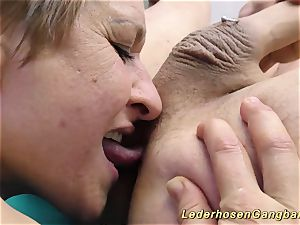 first-timer lederhosen group sex fuckfest