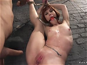 tied red-haired assfuck creampied