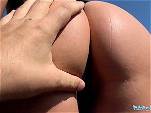 Public Agent fleshy shaven Romanian gash gets creampied