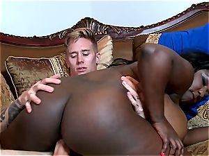phat backside black bitch inhaling milk white penis