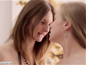 2 adorable beauty Ariadna and Hannah with petite knockers gets plumbed three way