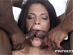 Verona Sky gets her labia stuffed with two ebony penises