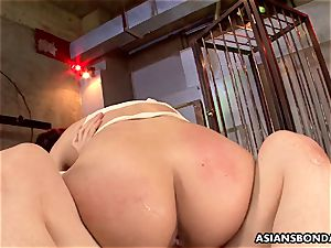 asian ginger-haired is bandaged and gangbanged