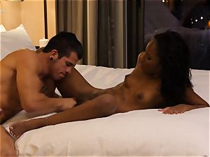 gobbling out dark-hued hotty Ashley pinkish in hotel apartment