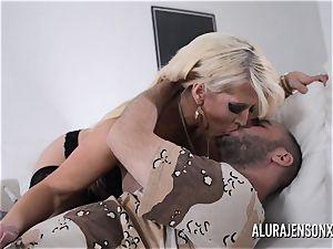 buxom blonde Alura Jenson enjoys a boy in uniform