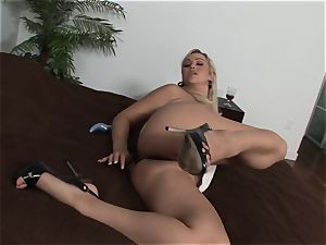 outstanding towheaded Abbey Brooks glides fake penis into her jummy cunt