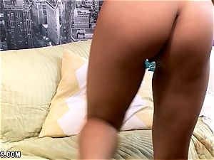 Maya Mona gets off hard with the large dildo