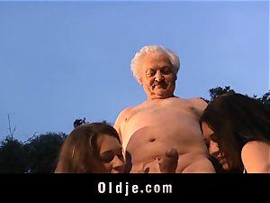 grandpa gets boinked by 2 sweeties