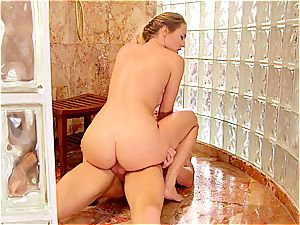 polish babe penetrating in the shower