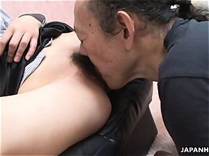 older dude is licking that moist hairy nubile cootchie up