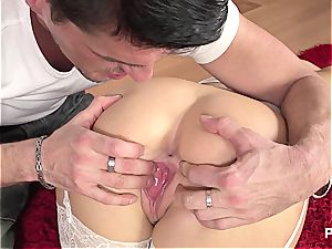 Jessica does the reverse cowgirl in uber-sexy undergarments