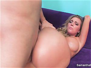 Samantha Saint gets her tight pinkish twat smashed