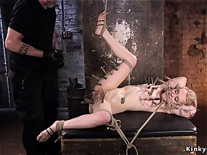 pinched blondie in bondage pussy played