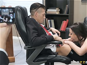 ultra-kinky dark haired Angela white banged over the table