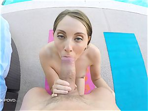 Yoga babe Nickey Huntsman has her coochie tamed with point of view style