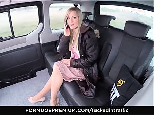 fucked IN TRAFFIC - jism on booty for nasty slender blond