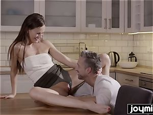 hungry husband munches poon for dinner from red-hot wifey