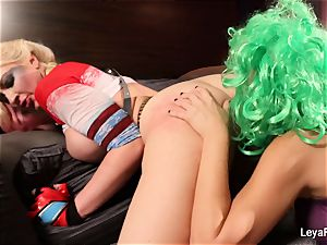 Whorley Quinn Leya gets fucked rock hard by She Joker Nadia