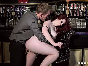 redhead Jaye Rose uses her bosoms to get the job