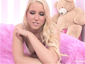 Interview and tearing up with blond cutie Vanessa cage