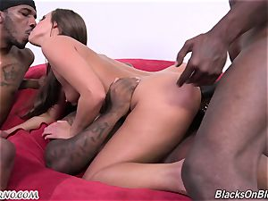 Triple foray by three ebony fellow in one milky chick Amirah Adara