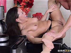 Kalina Ryu fucked by her manager as she converses to her boyfriend
