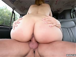 super-cute ash-blonde throating a ample chisel on the bangbus