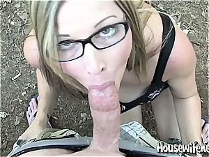 inexperienced wife gives outdoor blow-job with dirty facial cumshot