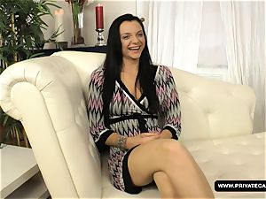 dark haired Anita Gets poked in the rump during Her Casti
