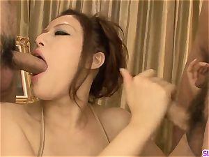 Premium asian group fuck-a-thon along Meisa Hanai