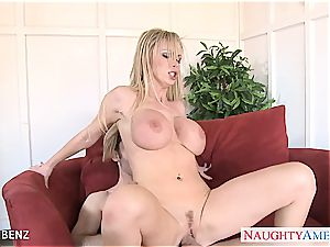 naughty Nikki Benz sploogs her globes out and gets porked