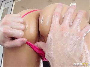 Sarah Vandella endures an oily ass fucking porking
