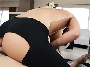 large backside latina August Ames gets her swarthy puss nailing through stretch pants
