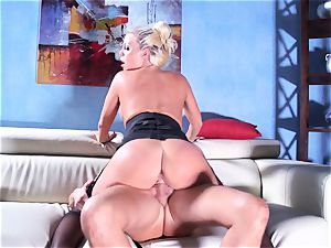 Britney Amber rides her large butt on his pink cigar