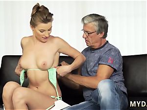 fat bap milf tempts nubile first time fucky-fucky with her boyboss´s dad after swimming pool