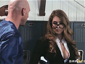 big-titted news reporter Lena Paul poked in the locker room