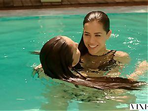 VIXEN 2 nasty school schoolgirls Sneak Into A Pool and screw A ginormous man rod