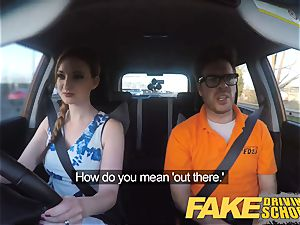 faux Driving school Nerdy ginger-haired teen college girl