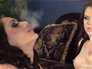 Smoking girl-on-girl joy with Charley and honey