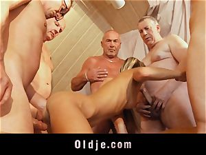 aged college group fuck featuring bony youthfull blond