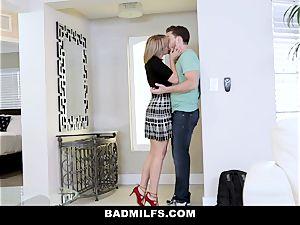 BadMILF - Jealous Stepmom 3 way With Stepson And girlfriend