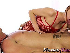 Pretty masseur gargling