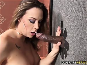 Chanel Preston deep throats and pummels black gloryhole boner