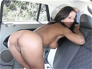 Angel Dark nude back seat onanism