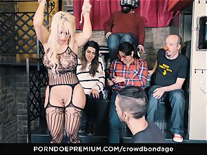 CROWD restrain bondage - submissive ash-blonde Fesser tough sadism & masochism hump