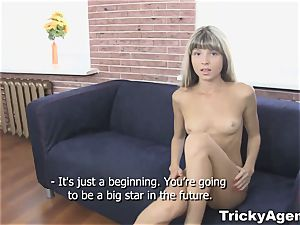 Tricky Agent - faux blond lady is sizzling and prepped to plow