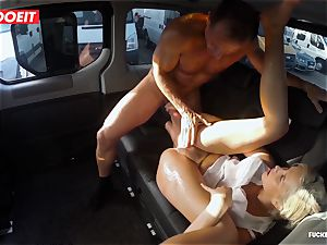 ash-blonde sweetie splatters all over the backseat of a van
